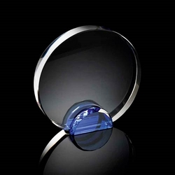 Round crystal frame with blue stand